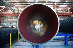 Изготовление стальных труб для подводного газопровода Стоковая Фотография