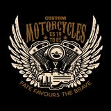 Изготовленные на заказ мотоциклы Подогнали мотор на темной предпосылке Конструируйте элемент для логотипа, ярлыка, эмблемы, знака иллюстрация вектора
