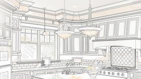 Изготовленная на заказ укладка в форме чертежа кухни для того чтобы показать законченный дизайн