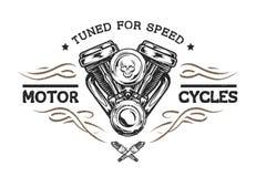 Изготовленный на заказ мотор в винтажном стиле иллюстрация вектора