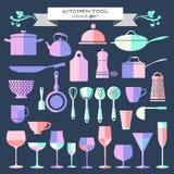 Изделия кухни и ресторан, установленные значки стеклоизделия иллюстрация вектора