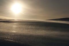 излучает зиму солнца snowfield стоковое фото