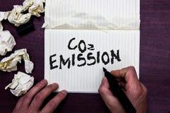 Излучение СО2 текста сочинительства слова Концепция дела для выпускать газов оранжереи в человека атмосферы с течением времени де стоковая фотография