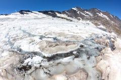 Изменение климата: ледник плавит должное к жаре лета Итальянка альп Стоковое Изображение RF