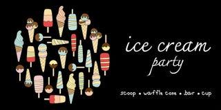 Изменение пастельных цветов doodle партии мороженого Стоковые Изображения RF