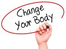 Изменение сочинительства руки человека ваше тело с черной отметкой на визуальном sc Стоковое Изображение