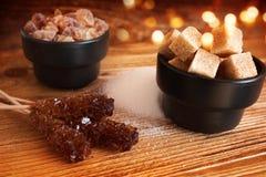 Изменения сахара на деревянном столе Стоковое Изображение RF