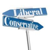 Измените направления с консервативными и либеральными знаками иллюстрация штока