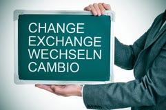 Измените, обменяйте, wechseln, cambio Стоковые Изображения