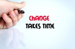 Измените принимает концепцию текста времени стоковые фотографии rf