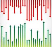 Изменять зеленые и красные стрелки иллюстрация штока