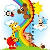 Измерение высоты младенца (в оригинале соблюдает пропорции 1 к 4) иллюстрация вектора