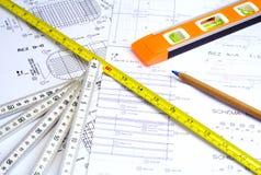 измерять аппаратур конструкции Стоковое фото RF