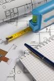 измеряя инструменты Стоковые Фотографии RF