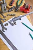 Измеряя инструмент и белые листы Стоковая Фотография RF