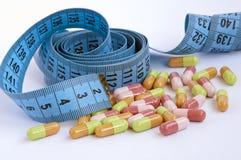 Измеряя лента с таблетками стоковое изображение
