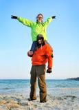 износ спортов пар счастливый стоковая фотография
