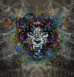 Изображение абстрактного искусства с волком Стоковое Изображение