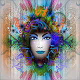 Изображение абстрактного искусства с женщиной Стоковое Изображение