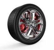 изображение автомобиля предпосылки 3d представило колесо белым Стоковая Фотография RF