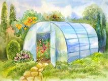 Изображение акварели с парником в саде Стоковая Фотография
