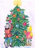 Изображение акварели сценарное праздника Нового Года иллюстрация штока