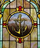 изображение анкера стеклянное запятнало окно Стоковые Фото