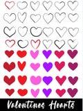 Изображение большого вектора сердец установленное стоковое изображение rf
