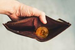 Изображение бумажника bitcoin на светлой предпосылке стоковая фотография rf