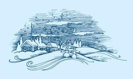 Изображение вектора ландшафта деревни зимы на стиле гравировки Стоковое Изображение