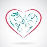 Изображение вектора животного на форме сердца бесплатная иллюстрация