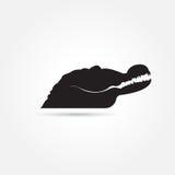 Изображение вектора животных черное крокодила на предпосылке Стоковые Фотографии RF