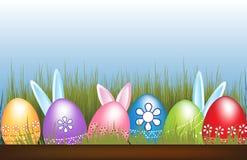 Изображение вектора пасхальных яя и зайчиков Стоковое Изображение