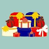 Изображение вектора подарочных коробок рождества, предпосылка Стоковые Изображения