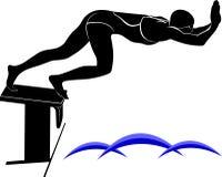 Изображение вектора пловца Оно нарисовано в стиле гравировки иллюстрация штока