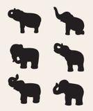 Изображение вектора силуэта слона Стоковые Изображения