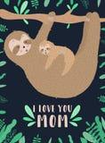Изображение вектора сонной лени обнимает младенца в ночи Нарисованная вручную иллюстрация для ребенка, тропическое лето мультфиль стоковое изображение