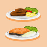 Изображение вектора стейка и рыб мяса Стоковое Фото