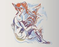 Изображение вектора фантастической женщины лодкамиамфибии иллюстрация штока