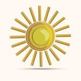 Изображение вектора 3d солнца золота современное Стоковые Фото