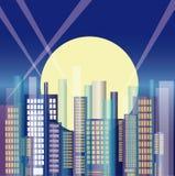 Город в ноче иллюстрация вектора
