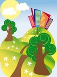 Славный город на зеленых холмах иллюстрация вектора