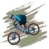 Изображение велосипедиста спуская на горный велосипед на наклоне стоковое фото