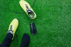 Изображение взгляда столешницы воздушное знака предпосылки футбола или футбольного сезона Стоковая Фотография