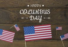 Изображение взгляда столешницы воздушное украшения знак дня США счастливого Колумбуса на октябре 8,2018 стоковые изображения