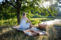 Изображение вид сзади молодой женщины в платье лета сидя под большим деревом и смотря заход солнца Стоковая Фотография RF