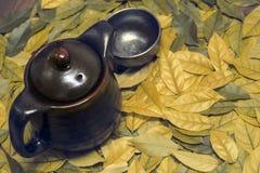 Изображение восточных чайника и чашка на листьях Стоковое фото RF