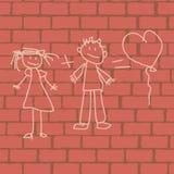 Изображение влюбленности на стене Стоковое Фото