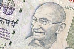 Изображение Ганди на банкноте индейца 100 rupies стоковые изображения