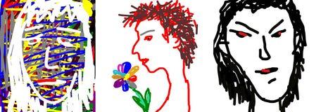 Изображение головы человека и женщины Стоковые Фото